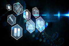Medical icons in hexagons interface menu Stock Photography