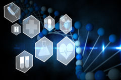 Medical icons in hexagons interface menu Royalty Free Stock Photo
