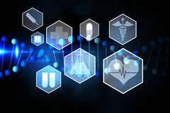 Medical icons in hexagons interface menu Royalty Free Stock Photos