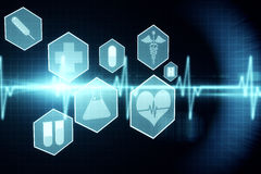 Medical icons in hexagons interface menu Stock Images