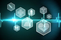 Medical icons in hexagons interface menu Royalty Free Stock Photography