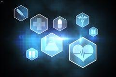 Medical icons in hexagons interface menu Royalty Free Stock Photos
