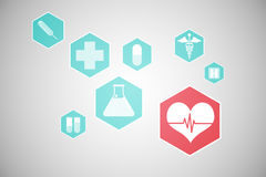 Medical icons in hexagons interface menu Royalty Free Stock Images