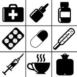 Medical icons. Illustration contains medical and non-medical objects which people usually use during illness Royalty Free Stock Photos