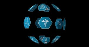 Medical icons 4k. Digital animation of different medical icons in blue hexagons arranged spherically rotating against a black background 4k royalty free illustration