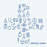 Medical icons on light blue background.  Royalty Free Stock Photos