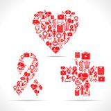 Medical icons make a heart,aids and cross shape Stock Photo
