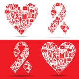Medical icons make a heart and aids shape Stock Image