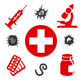 Medical icons with medical equipment. Pills and virus attack. Vector illustration Stock Image