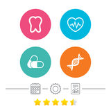 Medical icons. Pills, tooth, DNA and Cardiogram. Maternity icons. Pills, tooth, DNA and heart cardiogram signs. Heartbeat symbol. Deoxyribonucleic acid. Dental Royalty Free Stock Photography