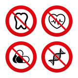 Medical icons. Pills, tooth, DNA and Cardiogram. No, Ban or Stop signs. Maternity icons. Pills, tooth, DNA and heart cardiogram signs. Heartbeat symbol Royalty Free Stock Images