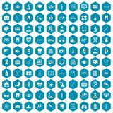 100 medical icons sapphirine violet. 100 medical icons set in sapphirine hexagon isolated vector illustration Royalty Free Stock Photo