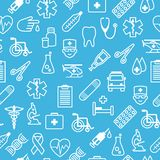 Medical icons seamless background in flat style Stock Photography