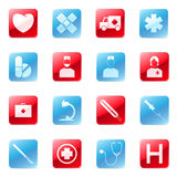 Medical icons set. Set of vector blue and red medical icons Royalty Free Stock Photography