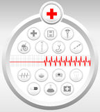 Medical Icons Set. Gray - Illustration Stock Images