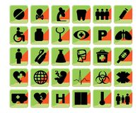 Medical icons set bio green and orange Royalty Free Stock Photo
