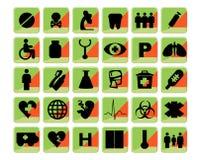 Medical icons set bio green and orange. Emblems Royalty Free Stock Photo