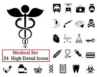 24 Medical icons. Set of 24 Medical icons in Black Color Royalty Free Stock Photography