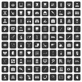 100 medical icons set black. 100 medical icons set in black color isolated vector illustration Stock Photo