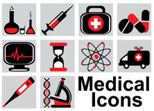 Medical icons. Set black and red medical icons on a light background Stock Images
