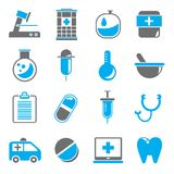 Medical icons. Set of 16 medical icons with blue color royalty free illustration