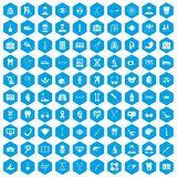 100 medical icons set blue. 100 medical icons set in blue hexagon isolated vector illustration Stock Photo