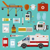 Medical icons set care ambulance emergency hospital vector illustration. Medical icons set care heart ambulance hospital emergency and syringe pharmacy clinic Stock Photography