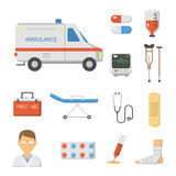 Medical icons set care ambulance hospital emergency human pharmacy vector illustration. Medical icons set care heart ambulance hospital emergency and syringe Stock Images