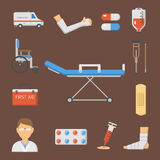 Medical icons set care ambulance hospital emergency human pharmacy vector illustration. Medical icons set care heart ambulance hospital emergency and syringe Stock Image