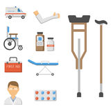 Medical icons set care ambulance hospital emergency human pharmacy vector illustration. Medical icons set care heart ambulance hospital emergency and syringe Royalty Free Stock Photos