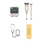Medical icons set care ambulance hospital emergency human pharmacy vector illustration. Medical icons set care heart ambulance hospital emergency and syringe Royalty Free Stock Photo