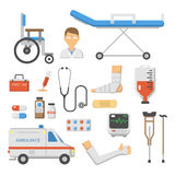 Medical icons set care ambulance hospital emergency human pharmacy vector illustration. Medical icons set care heart ambulance hospital emergency and syringe Stock Photography
