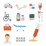 Medical icons set care ambulance hospital emergency human pharmacy vector illustration. Medical icons set care heart ambulance hospital emergency and syringe Stock Photo