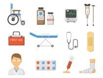 Medical icons set care ambulance hospital emergency human pharmacy vector illustration. Medical icons set care heart ambulance hospital emergency and syringe Royalty Free Stock Photography