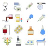 Medical icons set, cartoon outine style. Medical icons set. Cartoon outline illustration of 16 medical icons for web stock illustration