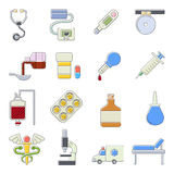 Medical icons set, cartoon outine style. Medical icons set. Cartoon outline illustration of 16 medical vector icons for web royalty free illustration