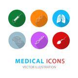 Medical icons set in circle button style. vector illustration. Flat medical icons with shadow. Vector illustration vector illustration