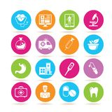 Medical icons. Set of 16 medical icons in colorful buttons vector illustration