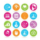 Medical icons. Set of 16 medical icons in colorful buttons Royalty Free Stock Photos