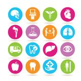 Medical icons. Set of 16 medical icons on colorful buttons royalty free illustration