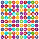 100 medical icons set color. 100 medical icons set in different colors circle isolated vector illustration Royalty Free Stock Photography