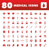 80 Medical icons. A set of eighty unique icons with medical themes Stock Images
