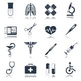 Medical icons set. Medical emergency first aid care black icons set with heart pill thermometer isolated vector illustration Stock Photo