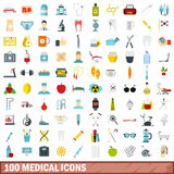 100 medical icons set, flat style Stock Image