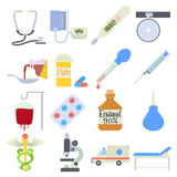 Medical icons set, flat style. Medical icons set. Flat illustration of 16 medical vector icons for web royalty free illustration