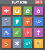 Medical Icons set in flat style with long shadows. Royalty Free Stock Image