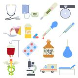 Medical icons set, flat style. Medical icons set. Flat illustration of 16 medical icons for web stock illustration