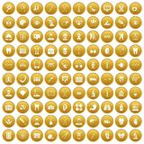 100 medical icons set gold. 100 medical icons set in gold circle isolated on white vector illustration Stock Images