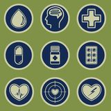 Medical icons set on a green background. Medical icons 9 pieces on a green background. EPS10 Stock Images