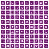 100 medical icons set grunge purple. 100 medical icons set in grunge style purple color isolated on white background vector illustration Stock Image
